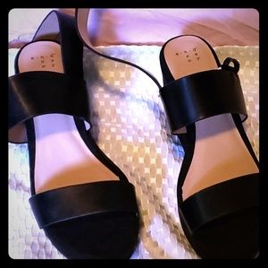 A New Day Black Wedge Sandals